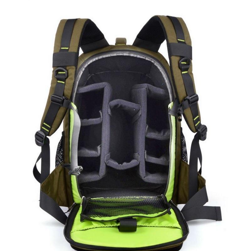 Sinpayé numérique DSLR reflex appareil photo sac à dos grand espace photographie sac étui Anti choc pour Canon Nikon couleur armée vert et noir