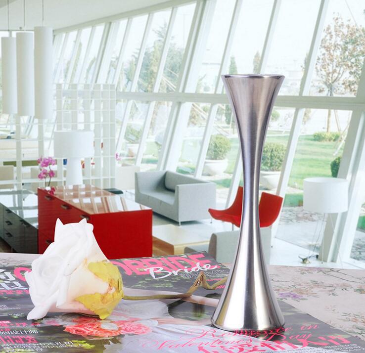 European Single Round Port Flower Vases Fashion Stainless Steel Slender Waist Vase Home Decor Ornaments Accessories