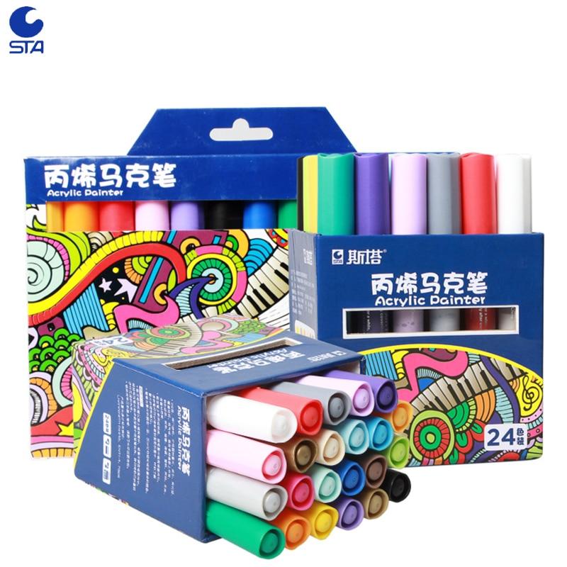 STA 24 färger Akrylmålare Permanent markör Vattenbaserad målad penna för ritning Juldekoration Graffiti Markers Paint