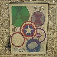 Vintage superhéroes los Vengadores Logo Mark Comics película clásica póster Bar decoración del hogar Retro Kraft papel Adhesivo de pared 42x30 cm