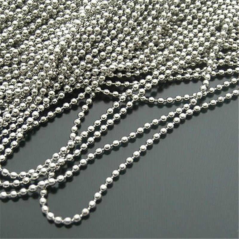 Roestvrij Staal Dog Tag Kettingen 2.4 Mm 60 Cm Silver Tone Ball Bead Ketting Voor Kettingen Armband Choker Mannen Vrouwen sieraden Bevindingen