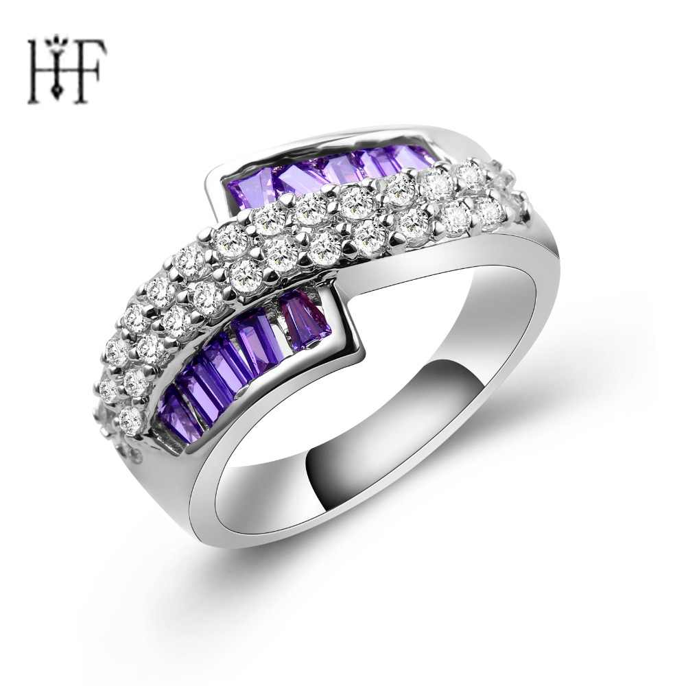Elegant weeding rings for women top quality AAA cubic zirconia crystal jewelry Silver-color rings wholesale New Hoops