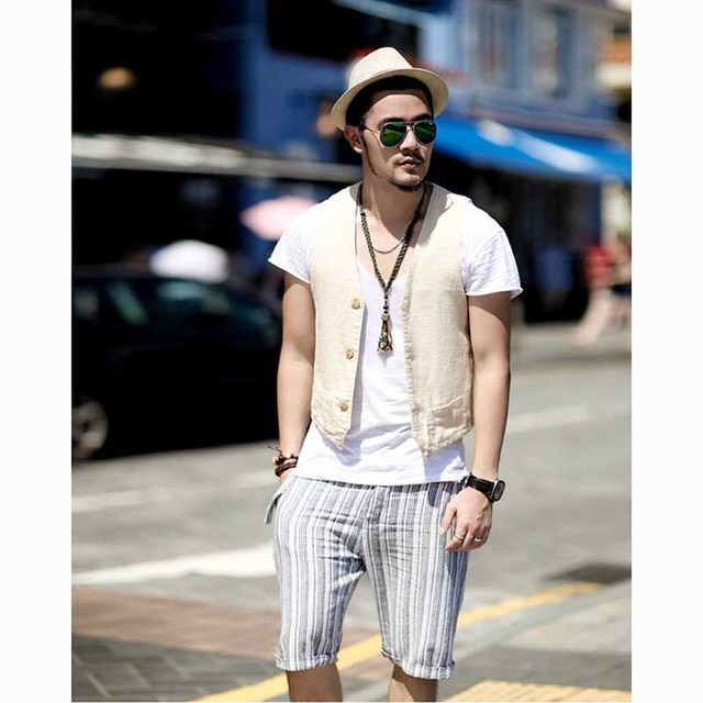 Summer Linen Suit Vest Men Casual Slimming Vest Office Formal Dress Wedding Waistcoat Male Clothing White Blue Black Plus Size