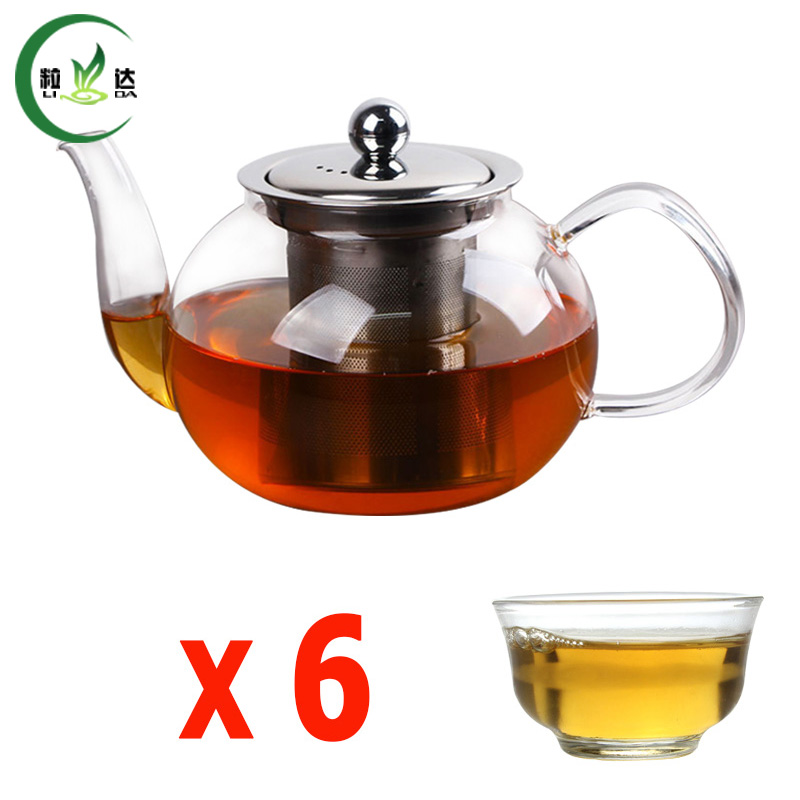 600ml Glass Teapot With Stainless Steel Filter Round Glass Kettle With 6pcs Tea Cup