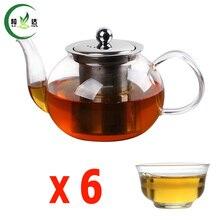 600 ml Glas Teekanne Mit Edelstahl Filter Runde Glas Wasserkocher Mit 6 stücke Tee Tasse