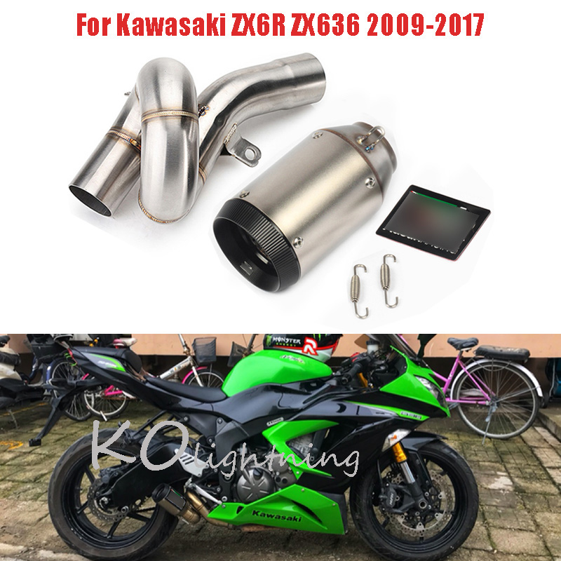ZX636 Motorcycle Exhaust System Carbon Fiber Tip Baffler + Mid Link Pipe Slip On Full Exhaust For Kawasaki ZX6R ZX636 2009-2017ZX636 Motorcycle Exhaust System Carbon Fiber Tip Baffler + Mid Link Pipe Slip On Full Exhaust For Kawasaki ZX6R ZX636 2009-2017