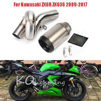 ZX636 Motorcycle Exhaust System Carbon Fiber Tip Baffler + Mid Link Pipe Slip On Full Exhaust For Kawasaki ZX6R ZX636 2009 2017
