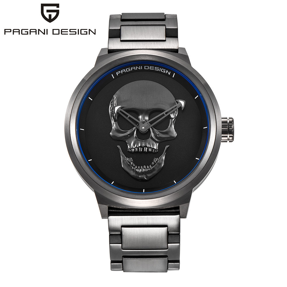 Brand PAGANI DESIGN Punk 3D Skull Personality Retro Fashion Men's Watches Large Dial Design Waterproof Quartz Watch Dropshipping цена
