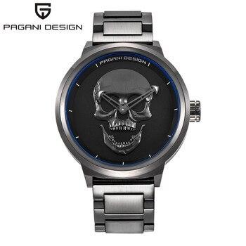Brand PAGANI DESIGN Punk 3D Skull Personality Retro Fashion Men's Watches Large Dial Design Waterproof Quartz Watch Dropshipping