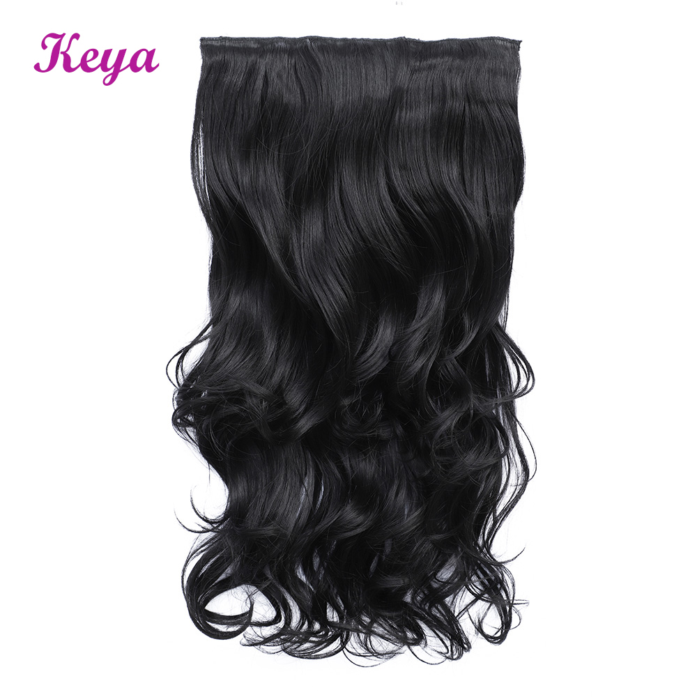 Natural Halo Hair Extensions 4 Clips in One Piece 190g Synthetic Heat Resistant Fiber 24 inch Clip in Hair Extensions(China)