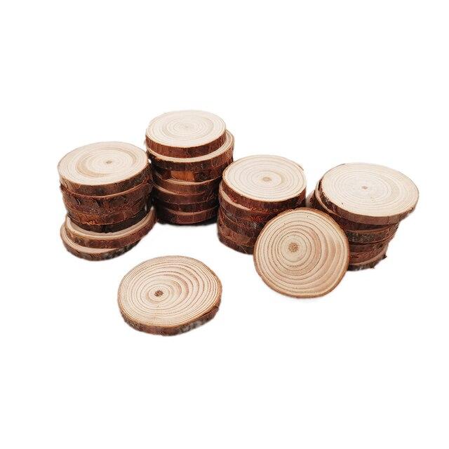 100 قطعة 4 5 سنتيمتر شرائح الخشب الطبيعي لم تنته DIY بها بنفسك اليدوية الزفاف الحرفية الحلي لعيد الميلاد ديكور Diy بها بنفسك