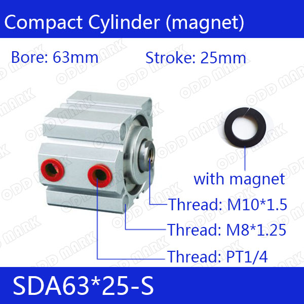 SDA63*25-S Free shipping 63mm Bore 25mm Stroke Compact Air Cylinders SDA63X25-S Dual Action Air Pneumatic Cylinder free shipping sda 63 95 63mm bore 95mm stroke double acting valve actuator cylinder pneumatic sda63 95 compact air cylinders