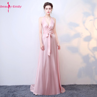 Beauty Emily Sexy Hanging Neck V Neck Evening Dresses Pink Ribbon Bow Satin Party Dress Trailing Ruched Sleeveless Prom Gowns