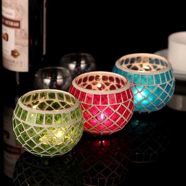 Romantic Mosaic Glass Candle Holder Home/Bar/Wedding Decoration Glass Candlestick for Tealight Centerpieces Freeshipping