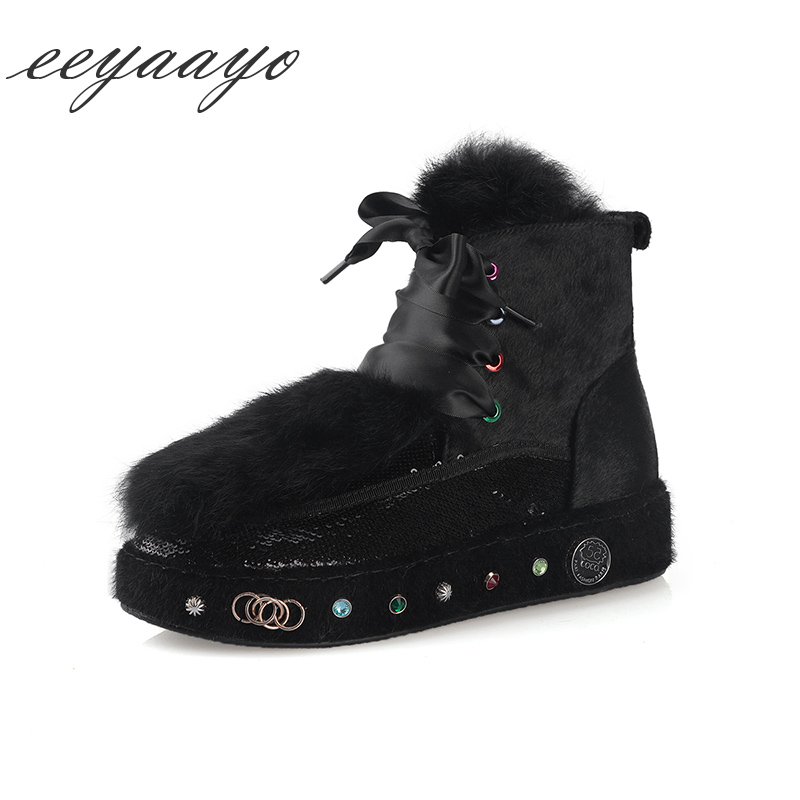 2018 New Winter Women Ankle Boots Platform Middle Heel Warm Wool Lining Real Fur Lace Up Bling Women Shoes Black Snow Boots