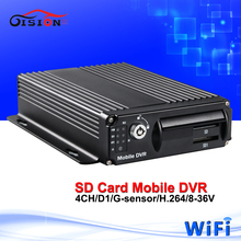 GS-8303W dual-sd card vehicle mobile dvr, 4ch wifi mdvr with cheap price , Support PC/ Phone Monitor security system car dvr