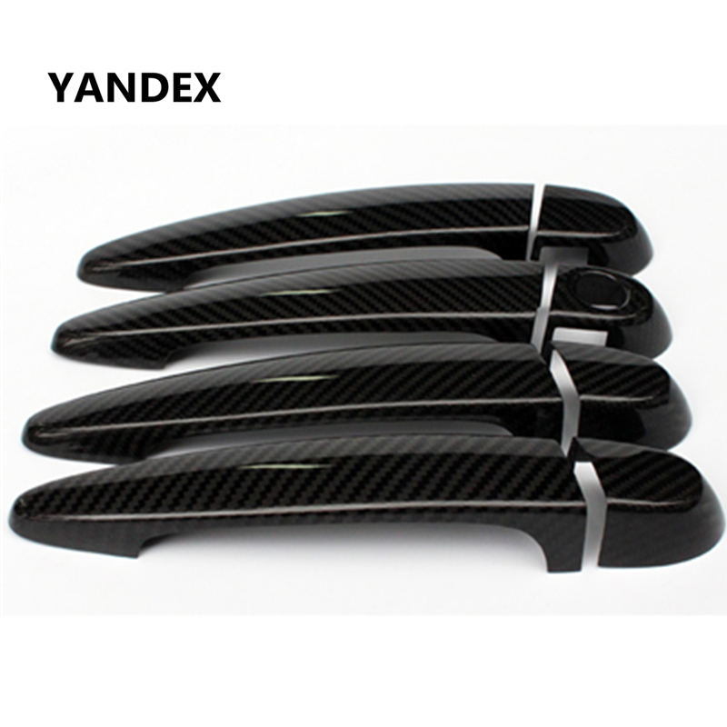 YANDEX Real carbon fiber exterior decorative car door handle cover With LED Hole Trim for BMW X3 X4 LHD RHD nitro triple chrome plated abs mirror 4 door handle cover combo