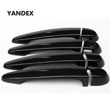 YANDEX Real carbon fiber font b exterior b font decorative car door handle cover With LED