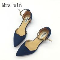 Mujeres Sexy Correa de Hebilla de Tacón Bajo Las Bombas Otoño Primavera Señaló Rebaño Toe D'Orsay Zapatos de Tacones Para Mujer Zapatos de Las Señoras Solteras azul