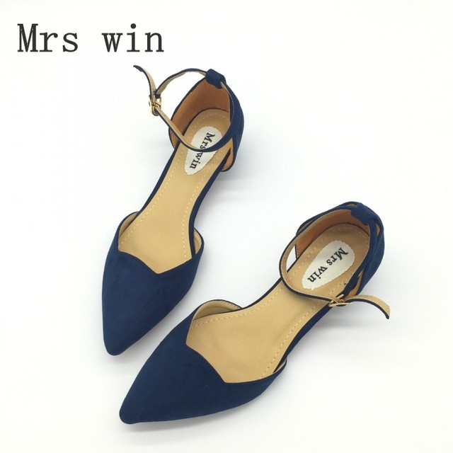 Sexy Women Buckle Strap Low Heels Pumps Spring Autumn Pointed Toe Flock D'Orsay Heels Shoes For Woman Ladies Single Shoes Blue