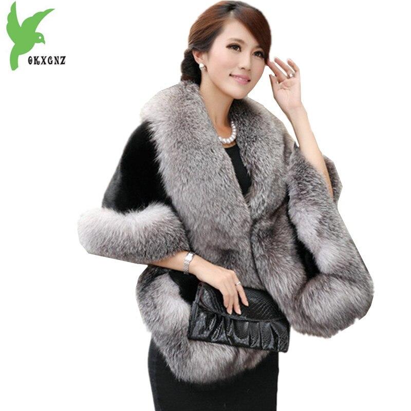Manteau châle femme printemps automne sans manches fourrure artificielle modéré Long mince était mince fourrure châle tempérament veste OKXGNZ A630
