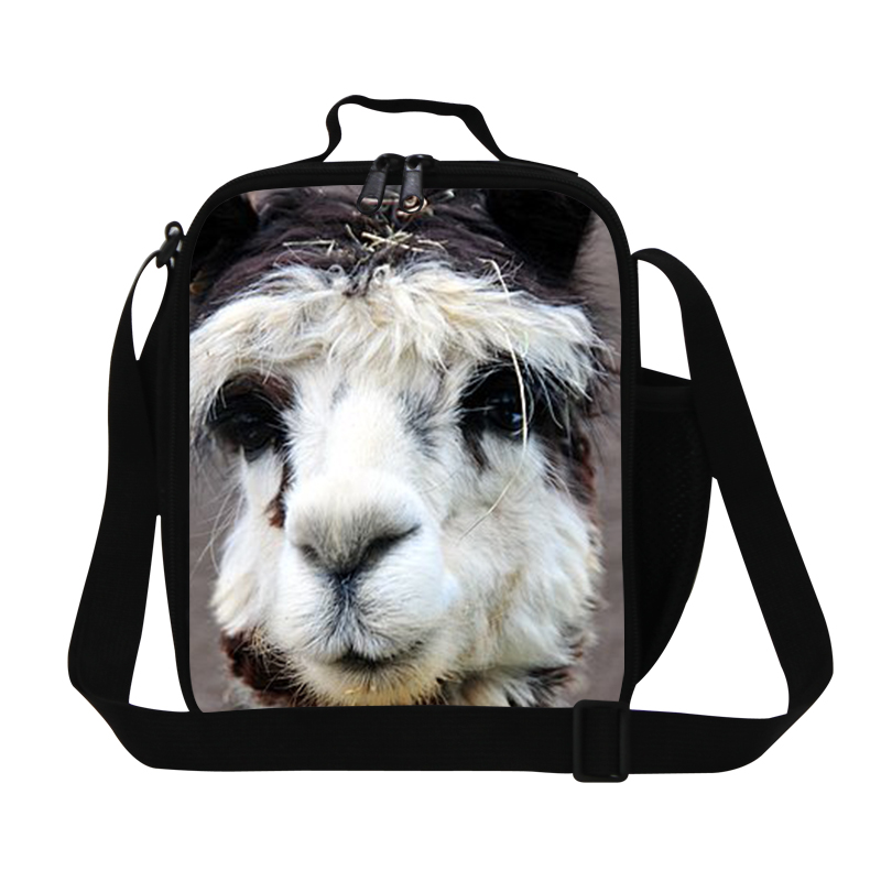 Personalized alpacas pattern thermal lunch bags for girls,animal insulated food bag with strap,kids cute lunch box bag container