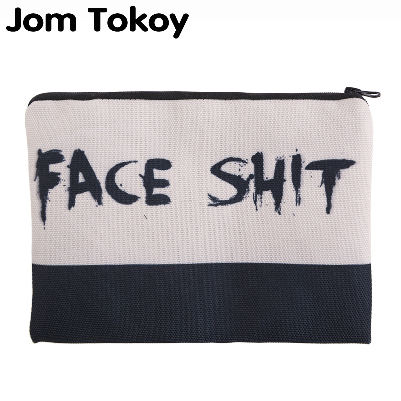 Jom Tokoy 3D Printing Face Shit Necessaries For Travelling Organizer Makeup Women Letter Cosmetic Bags With Zipper