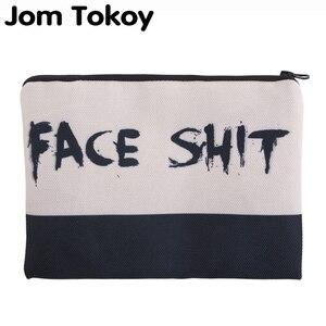 Jom Tokoy 3D impression visage merde nécessaires pour voyage organisateur maquillage femmes lettre cosmétique sacs avec fermeture éclair