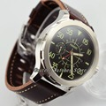 Мужские часы Parnis SS  светящиеся кожаные водонепроницаемые механические Автоматические часы  44 мм