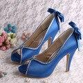 Wedopus MW1348R Personalizado Handmade 2016 Arco Aberto Toe de Cetim Sapatos de Noiva Bombas Azuis