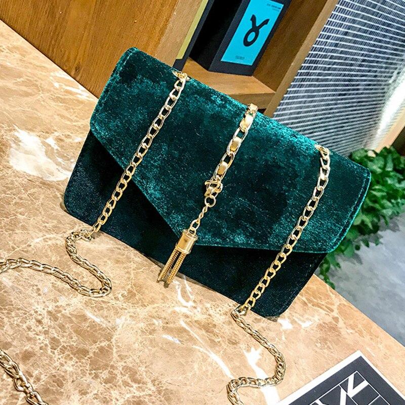 LJL Women Flap Clutch Evening Handbag Purse Tassel Envelope Chains Ladies bags 3