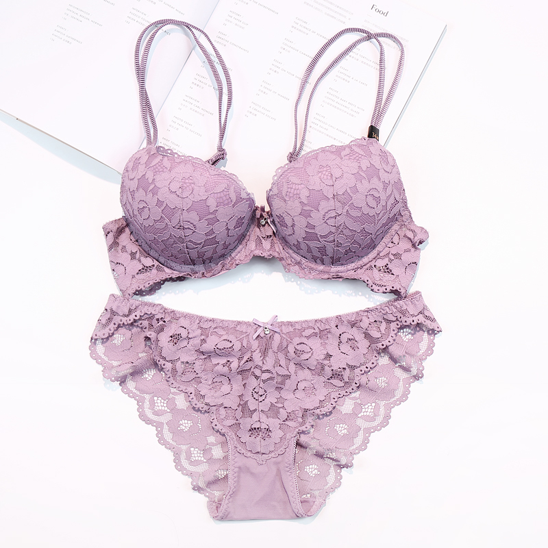 Bra brief sets sexy bra sets  super push up sexy lace embroidery underwear sets women lace brassiere lingerie set