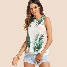 Bohemian holiday multicolor women s vest top tropical print round neck top 0f9dd8e4a302