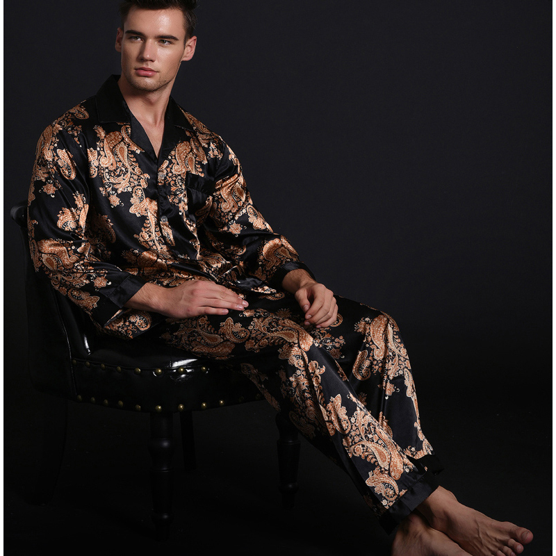 2017 Spring New Men's Satin Silk Turn-down Collar Pajamas Sets Long Sleeve Pants Pyjama Suits Casual Sleepwear Pijama L XL 2XL