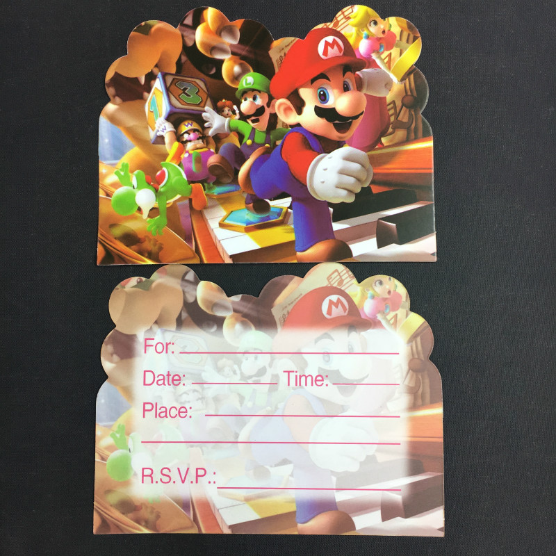 6PCS Cards Super Mario Design paper Invitation Card for kids Birthday Party Decoration
