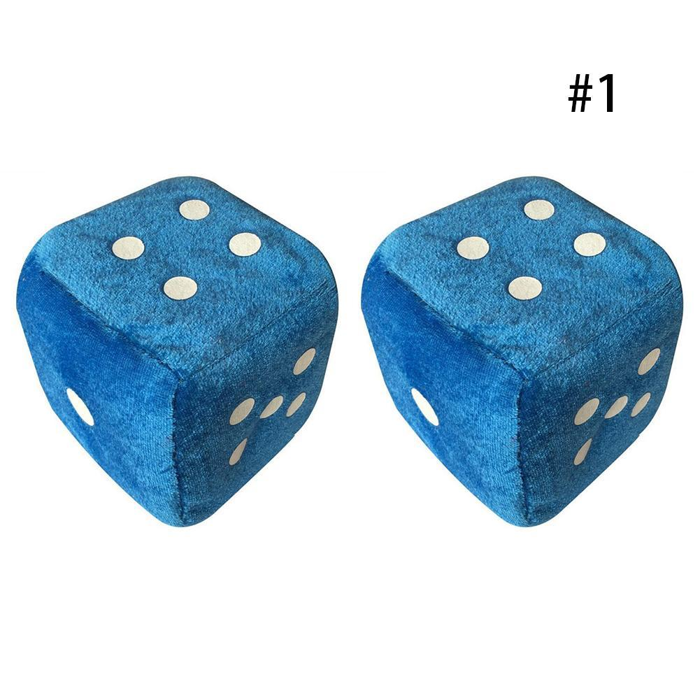 1 пара пушистых игральных костей в белый горошек зеркальные вешалки заднего вида винтажные автомобильные подвесные украшения интерьера авто аксессуары - Название цвета: blue