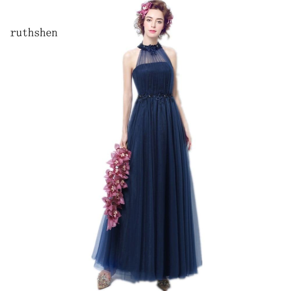 Discount Designer Evening Dresses: Ruthshen Sexy Navy Blue Prom Dresses Cheap Long High Neck