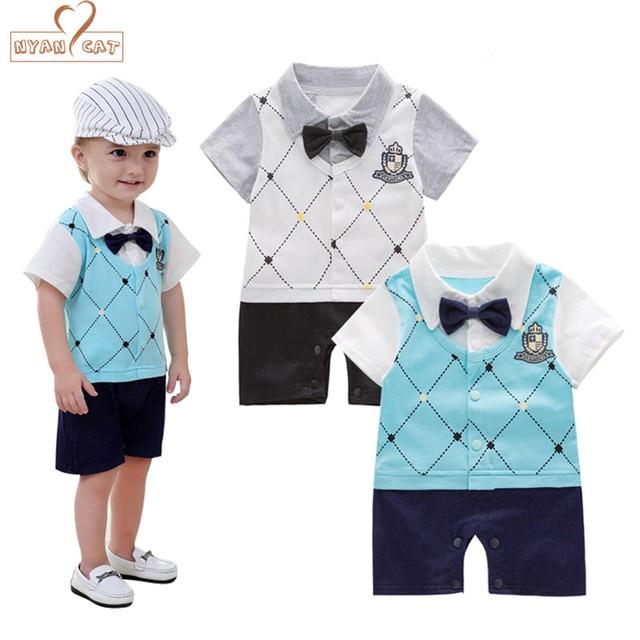 7dc30dfabeb0 NYAN CAT boy romper infant toddler school style bow tie gentlemen ...