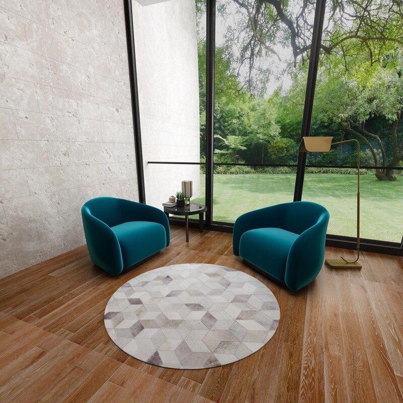 Ordinateur chaise commode Pad gris rond en cuir tapis étude Denim cuir tapisserie Denim imprimer motif personnalisé peau de vache Patchwork tapis