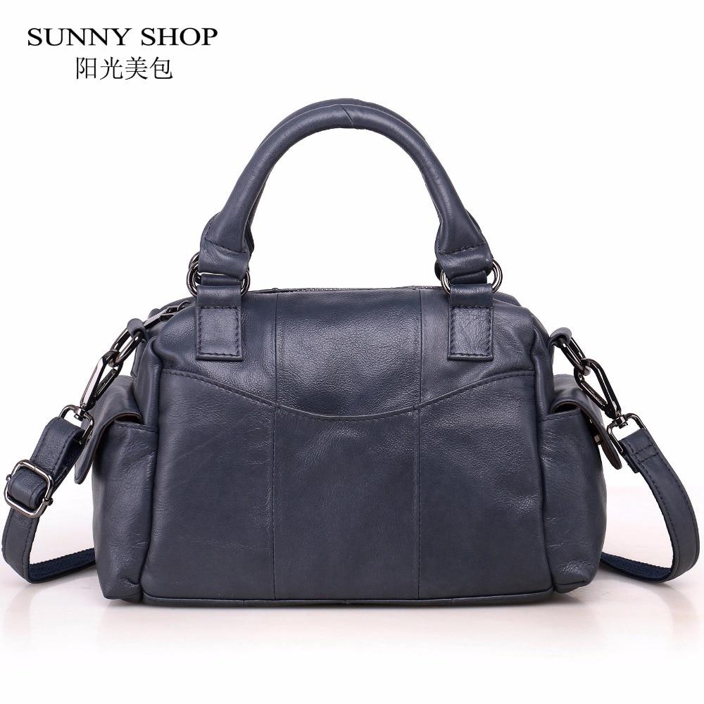 SUNNY SHOP 100% Genuine Leather Women Bag Bussiness Office Lady Handbags Real leather carry Shoulder Bags cowhide Skin Purse недорго, оригинальная цена
