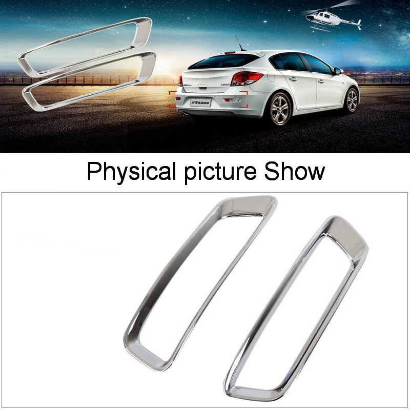 2 PCS DIY Car Styling NEW ABS Chrome The Rear Fog Cover Case Stickers For Chevrolet