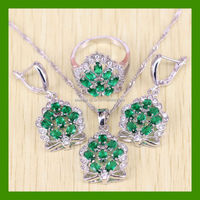 925 Sterling Silver Crown Shaped Womem Wedding Green Emerald Jewelry Set Free Jewelry Box Free Shipping