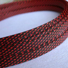 1M Black & Red 10mm Braided PET Expandable Sleeving High Density Sheathing Plaited Cable Sleeves uxcell 12 meters length 10mm width nylon braided expandable sleeving cable harness wire cable protection