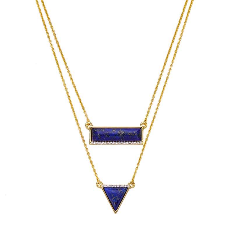 576E Dama natural de doble capa de Cristal Gema Cuarzo Piedra Colgante Collar Joyería