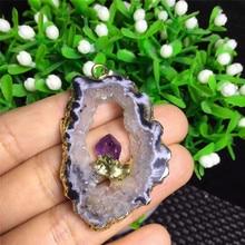 1pcs beautiful amethyst natural crystal agate geode mineral specimen pendant