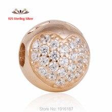 2015 chapado en oro rosa corazón Clip granos del encanto Fit Pandora pulseras auténtica plata de ley 925 del corazón del encanto del tapón de la joyería Diy