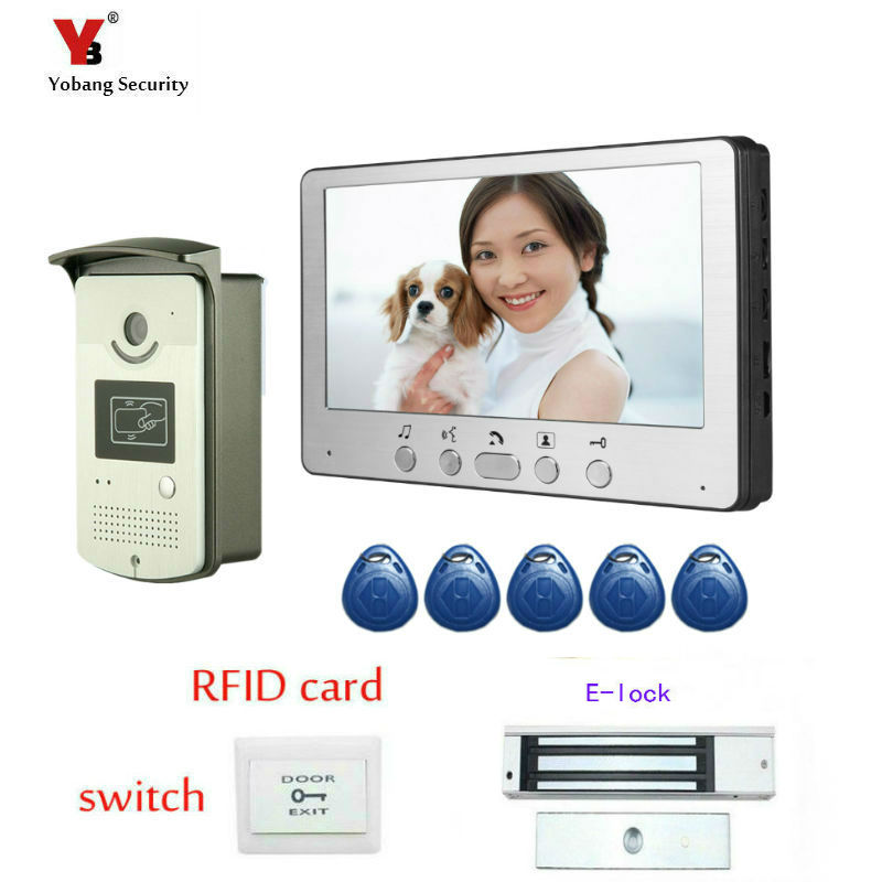 Yobang Security 7 Door Intercom Phone Video Doorbell System Home Apartment Entry Kit and Video Intercom Camera Stock Wholesale diy wired 7 door intercom entry system camera video doorbell intercom electric lock kit for home security f1665