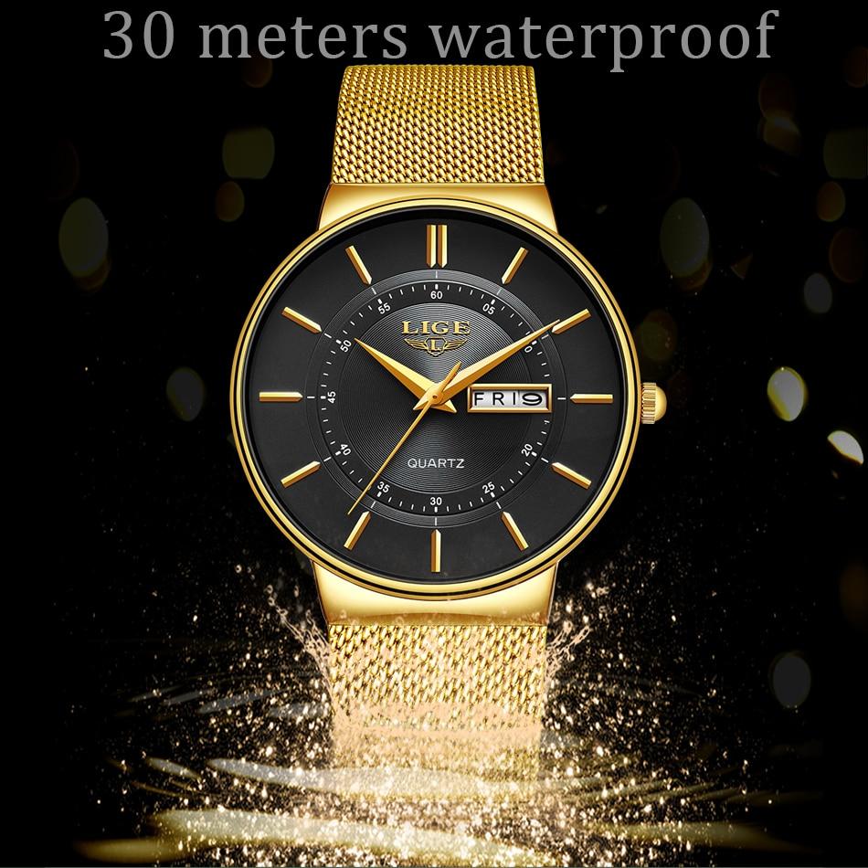 Relogio Masculino 2019 LIGE New Mens Watches Top Brand Luxury Ultra Thin Quartz Watch Men Steel Mesh Strap Waterproof Gold Watch