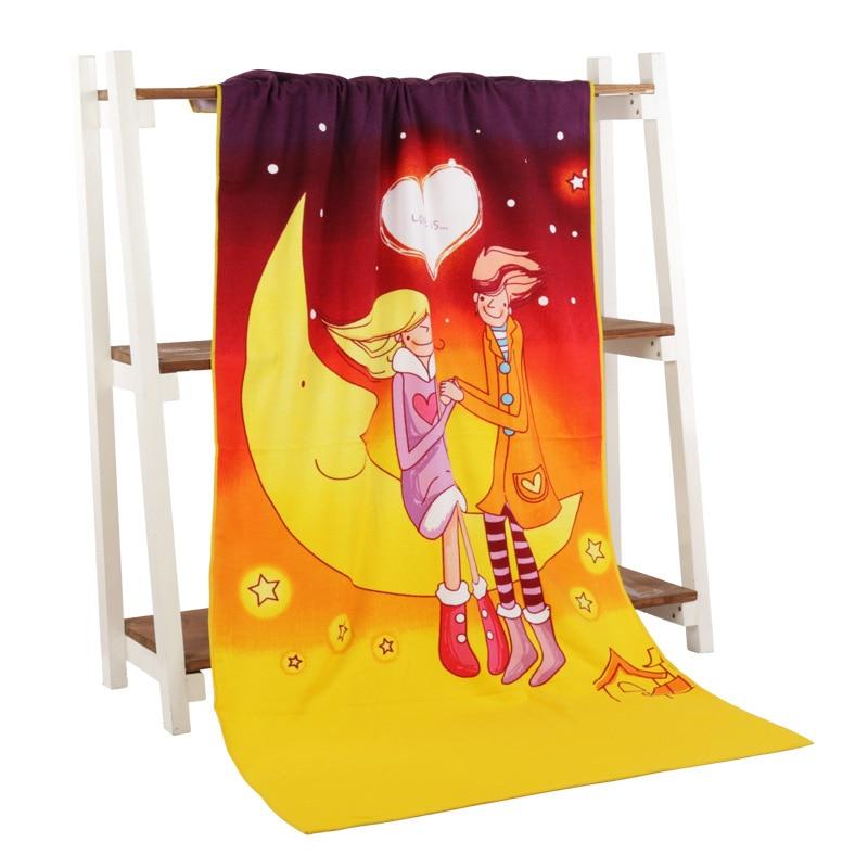 Купить с кэшбэком Free shipping bath towel 70 * 140 Superfine fiber bath towel printing USD & EUR & stripes & Beach girl Beach towels