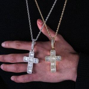 Image 4 - Collier pendentif croix glacé pour hommes/femmes, Micro pavé, Hip Hop, couleur or argent, chaîne à breloques scintillantes, bijoux